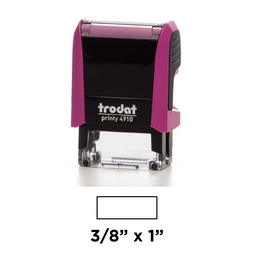 The Trodat 4910 is a pink plastic self-inking stamp.  Available in many ink colors and can have up to 2 lines of copy.