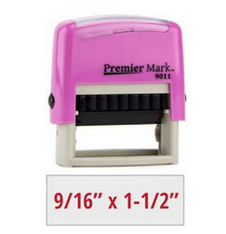 Colorful Pink frame self-inking stamp. Choose from many ink colors. Made with a high quality real rubber die which gives crisp and clear impressions.