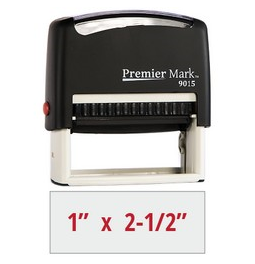 The #9015 Self-Inking Stamp is a medium to large sized stamp, comes with thousands of initial impressions and is easy to re-ink.