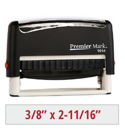 Premier Mark #9016 Self-Inking Stamp is a small but long sized stamp, perfect for a signature or pay to the order of stamp.