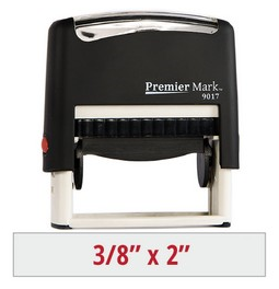 Premier Mark #9017 Self-Inking Stamp is a small but long sized stamp, perfect for a signature or pay to the order of stamp.