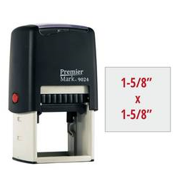 The Premier Mark 9024 is a large square stamp, easy to re-ink. No additional charge for artwork.