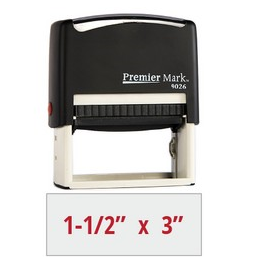 The Premier Mark 9026 is a large self-inking stamp, easy to re-ink. No additional charge for artwork.