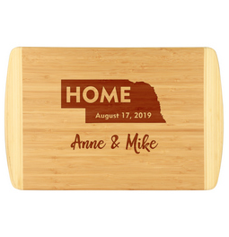 State outline and home design custom cutting board.  Established date and custom names make this bamboo cutting board a unique and fun gift or present.