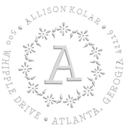 Allison Address Monogram paper embossing seal, style CE-50022. Choose from pocket, desk, gold or chrome seals. Makes a great gift.