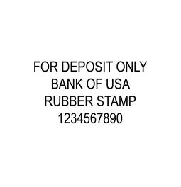 4-Line Deposit Rubber Stamp.  Comes inked in your favorite color.  Guaranteed to fit on back of checks.