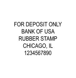 5-Line Deposit Rubber Stamp.  Comes inked in your favorite color & is re-inkable.  Guaranteed to fit on back of checks.