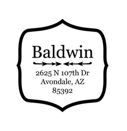 The Baldwin return address stamp is a great and unique way to stamp your return address. Choose between a self-inking stamp or a traditional rubber stamp.