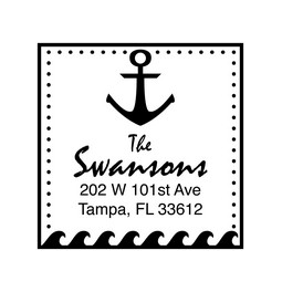 The Anchor return address stamp is a great and unique way to stamp your return address. Choose between a self-inking stamp or a traditional rubber stamp.