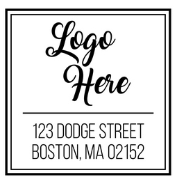 Square logo rubber stamp with text.  Make a great impression of your logo with this custom stamp and custom text. Choose from self-inking or traditional rubber stamp.