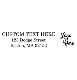 Make an impression with your custom logo rubber stamp with custom text. Choose from self-inking or a traditional rubber stamp.