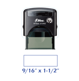 Shiny A-842 NTBac self-inking stamp. This stamp has been treated with a fungistatic agent that protects the product from fungal growth as well as restricts the growth and action of bacterial odors.