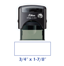 Shiny A-843 NTBac self-inking stamp. This stamp has been treated with a fungistatic agent that protects the product from fungal growth as well as restricts the growth and action of bacterial odors.